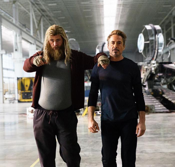 Image of Chris Hemsworth (Fat Thor) and Robert Downey Jr. (Tony Stark) on the set of Avengers: Endgame (2019)