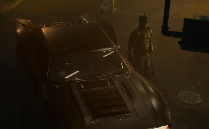 Image of Batman and the Batmobile in The Batman (2021)