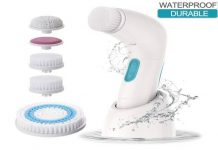 ETEREAUTY Facial Brush Waterproof Body Facial Cleansing Brush Spin Brush for Deep Cleansing, Gentle Exfoliating and Removing Blackhead with 5 Brush Heads