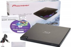 Pioneer BDR-XD05B Blu-Ray Player & Burner - 6X Slim Portable External BDXL, BD, DVD & CD Drive for Windows & Mac with 3.0 USB - Write & Read + Includes CyberLink Media Suite 10 (Black)