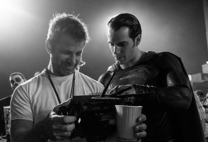 Zack Snyder and Henry Cavill on the set of Batman v Superman (2016)