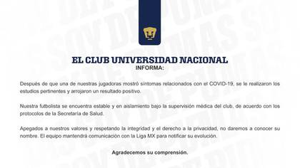 The club reported this Thursday that the footballer is stable (Photo: Pumas UNAM)