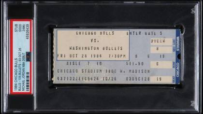 The ticket they sold from Michael Jordan's first official game with the Bulls