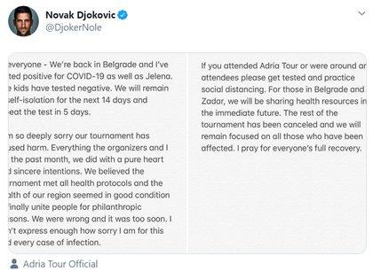 Djokovic's statement apologizing