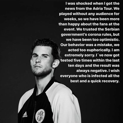 The image that Thiem used on his Instagram account to apologize for the wave of contagions caused by the Adria Tour