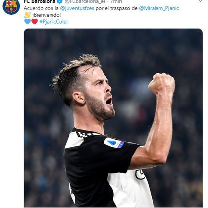 Minutes later FC Barcelona announced the signing of Pjanic