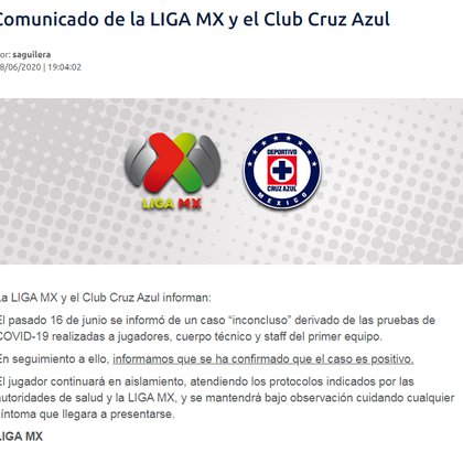 The Liga MX and La Maquinaria released the result of the new test that was carried out on a player (Photo: Liga MX)