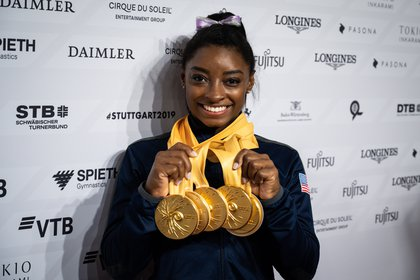 Simone Biles, 23, was a four-time Olympic champion and has won 19 world titles (EFE)