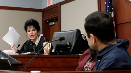 Judge Aquilina at the time of sentencing Nassar (REUTERS)