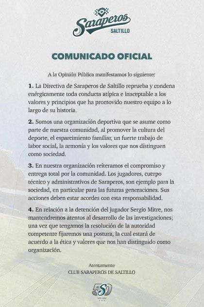 Statement from Saraperos de Saltillo (Photo: Saraperos de Saltillo)