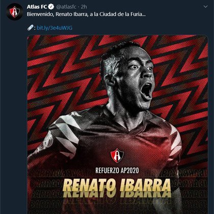 Renato will play a year on loan with Atlas (Photo: Twitter / atlasfc)