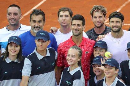 Viktor Troicki, Novak Djokovic, Dominic Thiem and Grigor Dimitrov on the Adria Tour (REUTERS)