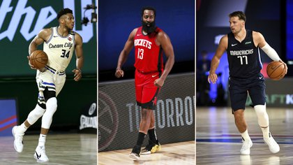 Giannis Antetokounmpo, James Harden and Luka Doncic, figures on the second day of the NBA in the Orlando bubble