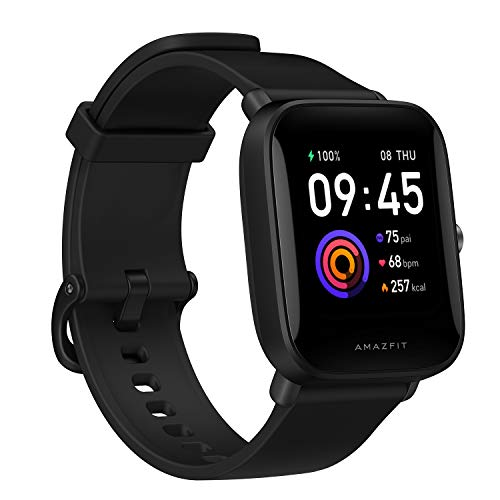"""Amazfit Bip U Smartwatch Fitness Smart Watch 60+ Sports Modes 1.43"""" Large Color Touch Screen 5 ATM Built-in GPS (SpO2) Blood Oxygen Heart Rate-Black"""